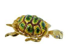 Karbra Signed Turtle Brooch With Enamel And Diamond Eyes