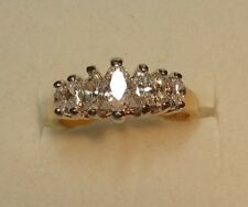 GREEAT LOOKING Marquise cut Cubic Zirconia STERLING SILVER 18K YELLOW GOLD PLATE