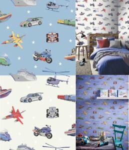 Arthouse Zoom Away Vehicles Boys Bedroom Wallpaper - Cars Motorbike