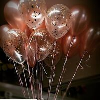"""Rose Gold Balloons Confetti Birthday Wedding Party Bride Baby Shower Engaged 11"""""""