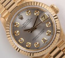 Rolex Lady President 26mm-18k Yellow Gold-Silver Diamond Dial-18k Fluted Bezel