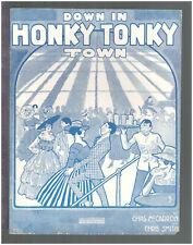 Down In Honky Tonky Town 1916 BLACK AMERICANA Vintage Sheet Music