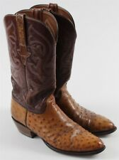 Lucchese Ostrich Brown Leather Cowboy Boots MENS Shoe Sz 9 D USA