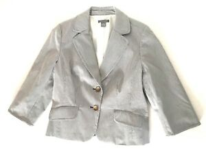 Ann Taylor Womens Size 14 Blue Suits Jacket Two Button Striped Sleeves Blazer
