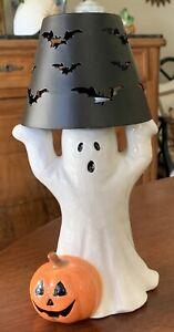 Russ Berrie Halloween Tea Light Candle Ghost & Pumpkin Handpainted