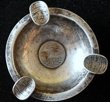 Antique 1929 Lebanon Sterling Silver Ash tray with 50 and 25 Piastre Coins