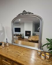 French Antique Silver Arch Arched Mantle top mirror 104cm x 109cm