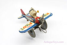 Vintage Marx Lithographed Tin Windup Popeye in Airplane