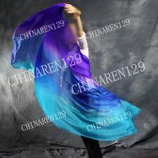 TIE-DYE BELLY DANCE 100% SILK VEILS (5.0 M/M) purple- sapphire blue- blue    333