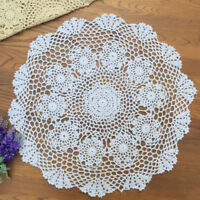 """White Vintage Hand Crochet Doily Round Lace Table Topper Flower Tablecloth 20"""""""