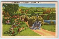 Vintage Postcard Greetings From Phillipsport NY Horse Team Pulling Hay Wagon
