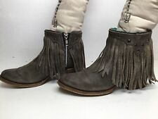 VTG WOMENS CORRAL FRINGE CASUAL DISTRESSED GRAYISH BOOTS SIZE 8.5 M