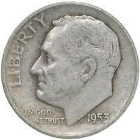 1953 D Roosevelt Dime 90% Silver Fine FN