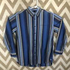 Tommy Hilfiger Mens Long Sleeve Shirt Size M Brown/Blue Stripes 80s 2 ply Fabric