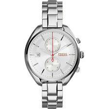 Runde Fossil Armbanduhren aus Edelstahl für Unisex