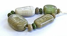 "UNIQUE HANDMADE LAMPWORK GLASS  BEADS, ""GREEN/NATURAL MIX """