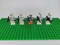 Custom Lego Star Wars Minifigures Orange Clone Troopers and Commander Lot of 5