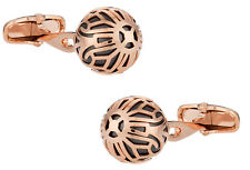 Swarovski Rose Gold Caged Pearl Cufflinks in Black Direct from Cuff-Daddy