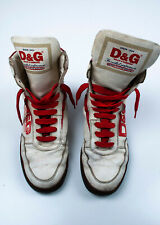 Original Dolce&Gabbana Dirty Beige Men High Ankle Leather Sneakers Shoes EUR42