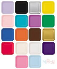 """Square Paper Party Plates 7"""" & 9"""" Plain Solid Colours Tableware Catering Events"""