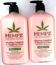 Lot of 2 Hempz Blushing Grapefruit & Raspberry Creme Herbal Moisturizer Lotion