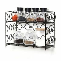 2-Tier Spice Rack Countertop Shelf for Kitchen Brown Color Wall-mounted Storage