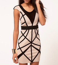 Lipsy Bodycon Bandage Dress 12 Nude Black Mesh Panel Short Sleeve Club Party