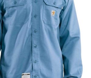 NWT Mens Carhartt Flame-Resistant Dry Lightweight Twill Shirt Blue L/S Sz Small
