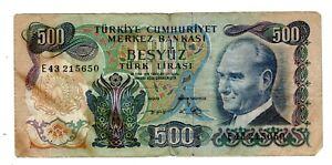 Turquie TURKEY Billet 500 LIRA 1970 P190 ATATURK BON ETAT