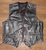 Herren- Schnür- LEDERWESTE / Biker- Weste antik- schwarz braun XL ca. Gr. 54