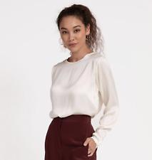 Grana Long Sleeved 100% Silk Ivory Top Size Medium