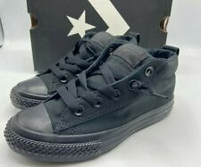 Converse Junior Boys Size 3Y CT Street Cab Mid Top Shoes Black Mono 626093F NEW