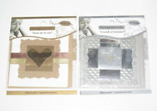 Lot x2 Cartes de Voeux + Enveloppes Coeur Argent & or 10 x10 cm NEUF