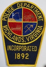 Police Department Richlands Virginia Incorporated 1892 Cloth Patch