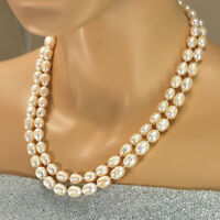"2 Strands Freshwater Pearl hand knot necklace Gold Toggle 18.5"" FREE SHIPPING"