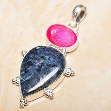 "Handmade Russian Seraphinite Gemstone 925 Sterling Silver Pendant 2.75"" #P15867"