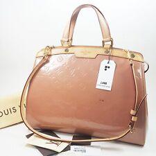 Auth Louis Vuitton Brea GM Monogram Vernis Rose Velours M91797 Bag Initial LB688
