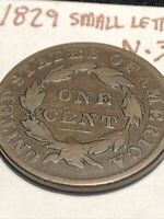 1829 Coronet Head Large Cent Small Letters N-3 Choice Brown Patina