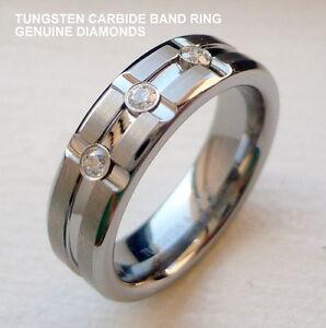 MEN'S 6MM TUNGSTEN CARBIDE BAND RING WITH GENUINE DIAMONDS