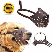 Leather Dog Muzzle - Adjustable Muzzle for Small Medium Large Dog, Soft Breathab