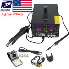 909D+ 4in1 Soldering Rework Station Solder Iron SMD Hot Air Gun DC Power Supply