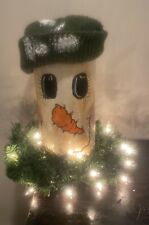 Christmas Window Decor Primitive Wooden Snowman Stump With Wreath & Lights Works