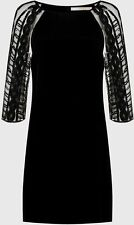 NOUGAT Black Dress With 3/4 Tulle Sequin Sleeves Flared Hem Size 10  RRP £199