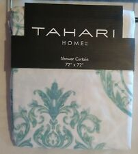 Tahari Chinoisserie Damask Geometric Teal Floral Fabric Shower Curtain  72x72