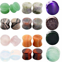 PAIR Stone Ear Plugs-Natural Organic Saddle Fit Ear Gauges-Amazonite,Opalite