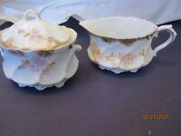 Demitasse Creamer & Sugar Vintage Gold Trim Floral