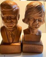 """Vintage John F Kennedy Brass President Kennedy & Jacqueline Kenn Head Bust - 6"""""""