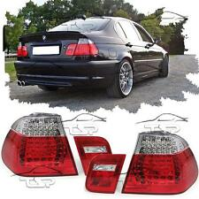 REAR LED TAIL LIGHTS RED-CLEAR FOR BMW E46 01-05 SERIES 3 SALOON LAMPS