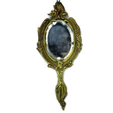 Antique Brass Hand Mirror Embossed Etched Beveled Glass Art Nouveau