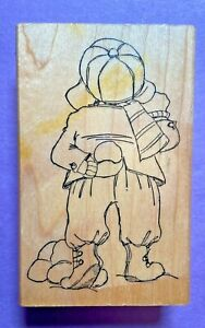 Art Impressions Rubber Stamp Wood Mt Back Of Boy Snowball Fight Winter Boots VTG